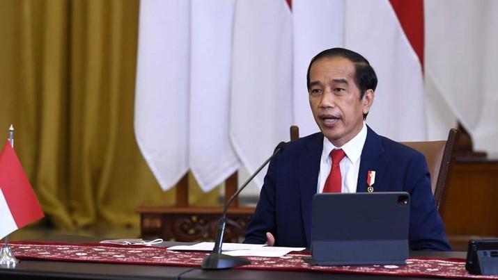 Presiden Jokowi Hadir pada acara Global Covid-19 Summit yang digelar secara virtual. (Biro Pers Sekretariat Presiden/Lukas)
