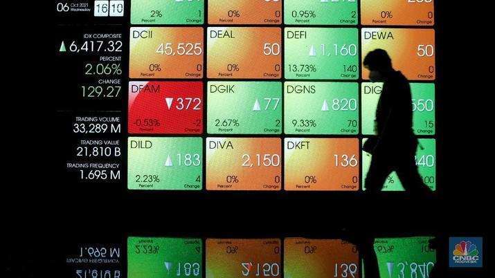Karyawan melintas di dekat layar pergerakan Indeks Harga Saham Gabungan (IHSG) di gedung Bursa Efek Indonesia, Jakarta, Rabu (6/10/2021).  Indeks Harga Saham Gabungan berhasil mempertahankan reli dan ditutup terapresiasi 2,06% di level 6.417 pada perdagangan Rabu (06/10/2021). (CNBC Indonesia/Andrean Kristianto)