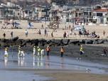 Bersih bersih Pantai California AS dari Tumpahan Minyak