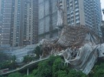 Ngeri, Gedung Ambruk karena Topan Lionrock di Hong Kong