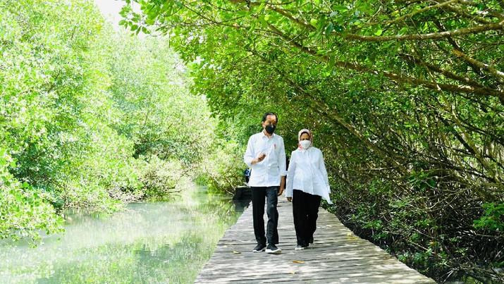 Presiden Joko Widodo dan Ibu Negara Iriana Joko Widodo bersama rombongan meninjau hutan mangrove di Taman Hutan Raya Ngurah Rai, Kabupaten Badung pada Jumat pagi, 8 Oktober 2021. (Laily Rachev - Biro Pers Sekretariat Presiden)