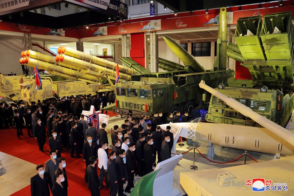 People attend the Defence Development Exhibition